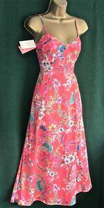 New-MONSOON-UK-8-Eur-36-LINDSAY-Coral-Pink-Floral-Cotton-Holiday-Summer-DRESS