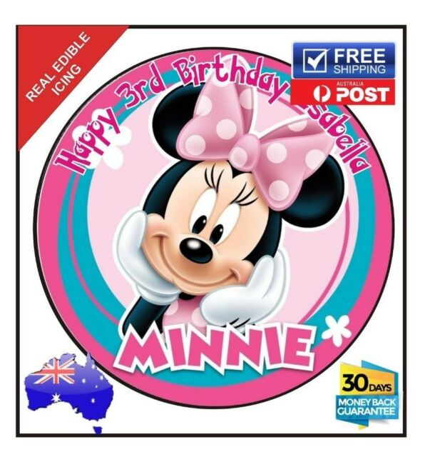 Minnie Mouse Personalised Edible Icing Image Birthday Cake Decoration topper