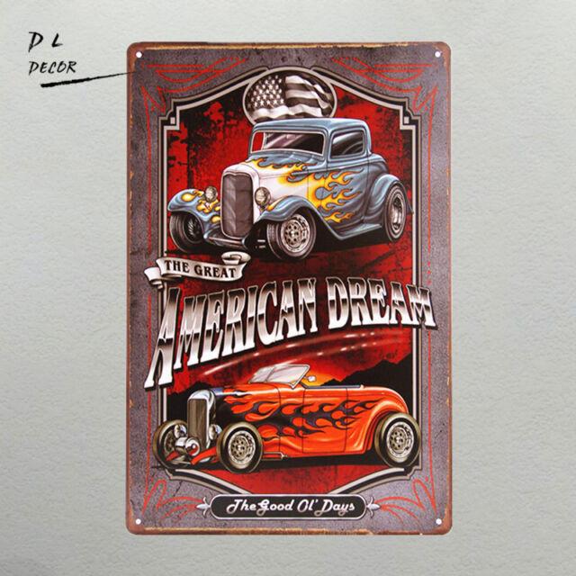 DL-Legends Hot Rod Garage Rat Rods Gas Vintage Retro Wall Decor Metal Tin Sign