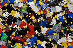 Lego-Minifiguren-Minifigs-10-Stuck-gemischt-zufallig-zusammen-gebaut-City-Basic