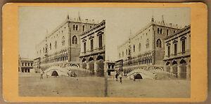 Venice-Italia-Palazzo-Ducale-Stereo-Vintage-Albumina-Ca-1860