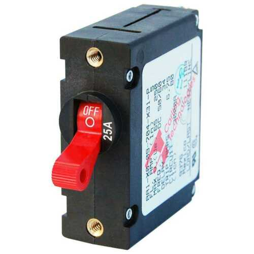 Blue Sea 7217 A-Series Red Toggle Circuit Breaker Single Pole 25A