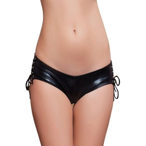 Wetlook Black Ladies/' Patent Leather Panty to the Bind Gathered Intimate Open S//