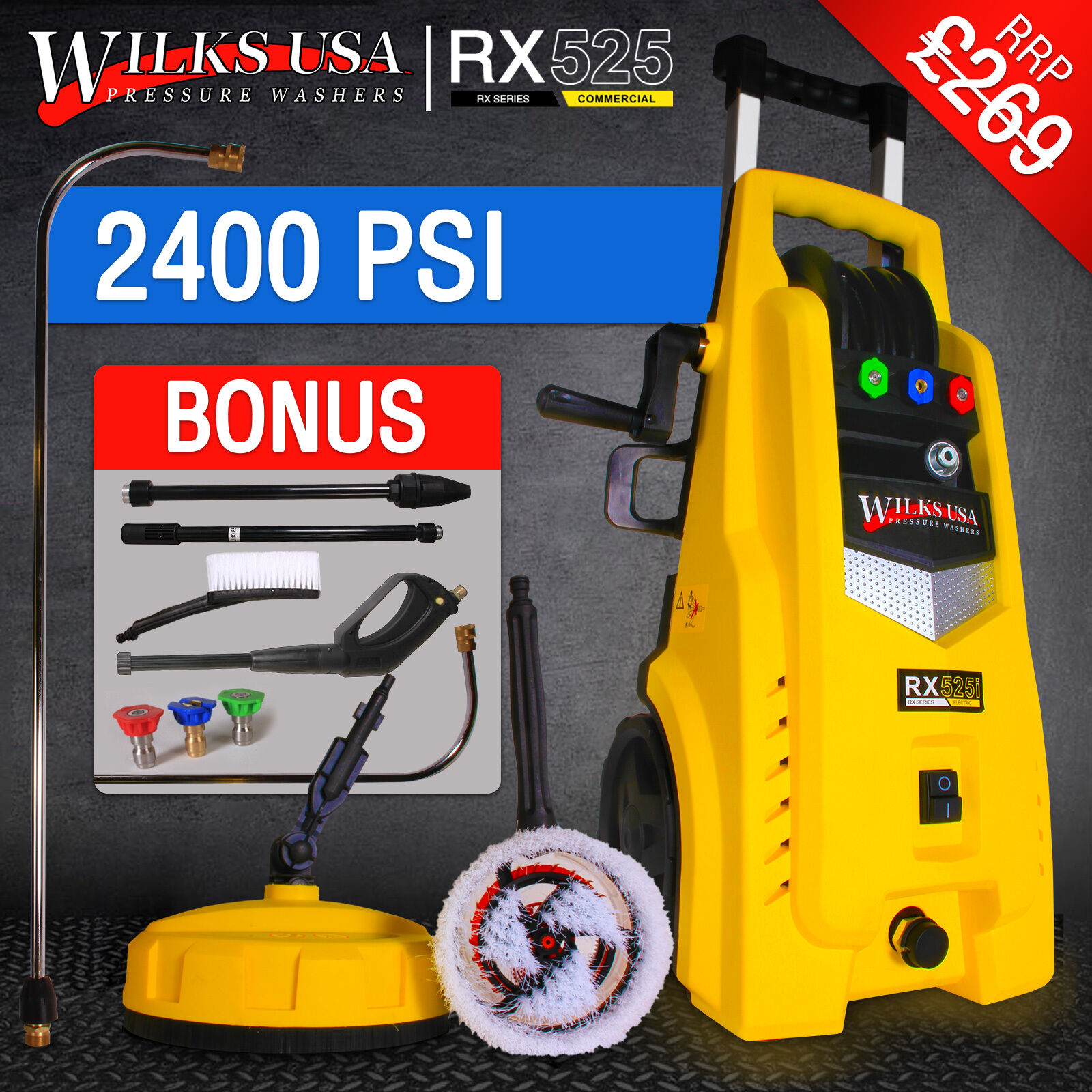 Electric Pressure Washer 1950psi 1800w Power Jet Cleaner