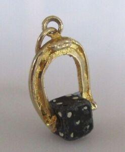 Encanto de oro 9ct-Vintage 9ct Oro Amarillo Herradura Suerte & Dados encanto