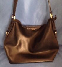 POLO Ralph Lauren RLL Black Pebble Soft Leather Tote Purse Womens