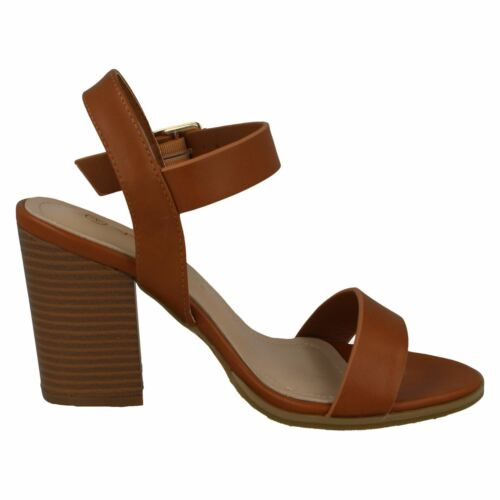 Details about  /LADIES ANNE MICHELLE F1R0910 WIDE FITTING TAN HEELED SANDAL