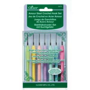 Clover-Amour-Crochet-Steel-Hooks-0-60-1-75-Set-of-7-SIZES-Protector-End-Caps