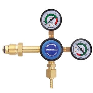 Details about Bossweld ARGON DUAL STAGE TWIN GAUGE REGULATOR Precise Flow  Rate, Side Entry