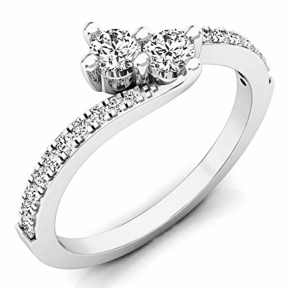 14K White gold White Diamond Two Stone Bridal Engagement Ring 1 2 CT (Size 6.5)