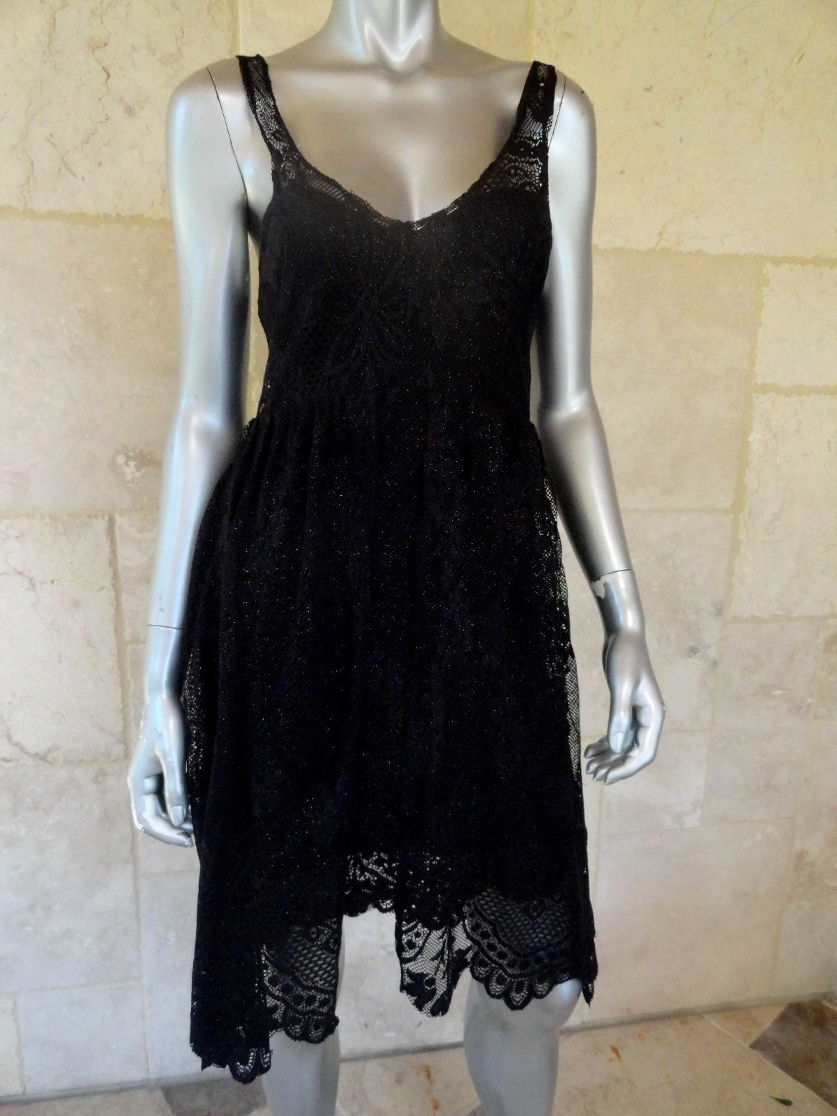 Free People schwarz Lace Sleeveless Hi Low Casual Summer Dress Sz 0 NWT