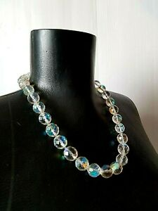 Vintage-Neacklace-Aurora-Borealis-BIG-beads-faceted-Czech-Rare