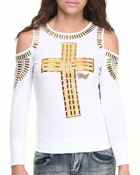 COOGI Studded Gold Cross Tee Weiß Cold Shoulder Sweatshirt Top damen Shirt NEW