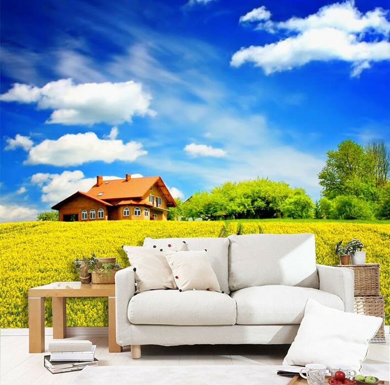 3D Farm Hut Clouds 7 Wall Paper Murals Wall Print Wall Wallpaper Mural AU Summer