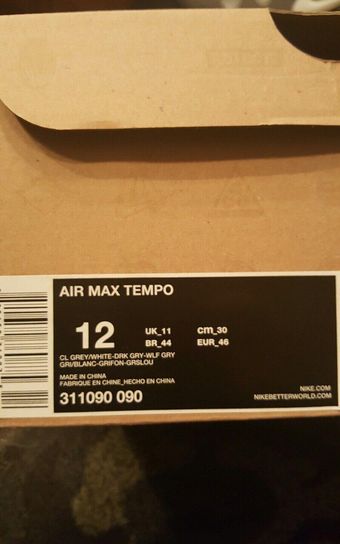 NIKE AIR MAX TEMPO SZ 12 COOL DARK WOLF GREY WHITE 311090 090