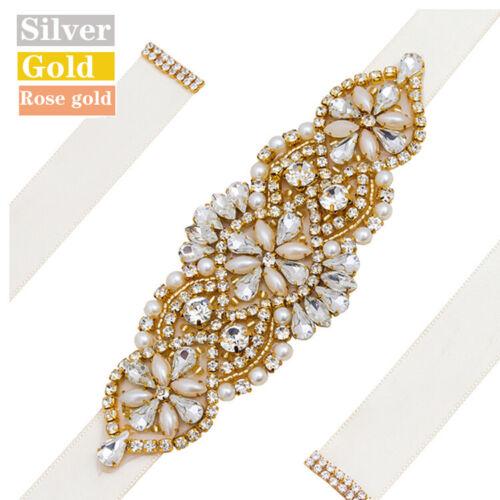 Crystal Bridal Sash Embellished Rhinestone Wedding Belt Silver,Gold,Rose gold