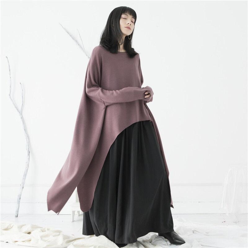Frauen Unregelmäßiges Umhangkleid schwarz Normcore Lose Blausen Einheitsgröße Top