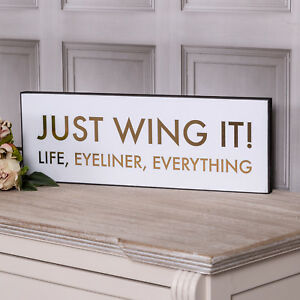 Details about Just Wing It Plaque Wall Sign Hanging White Gold Metallic  Funny Home Decor Gift