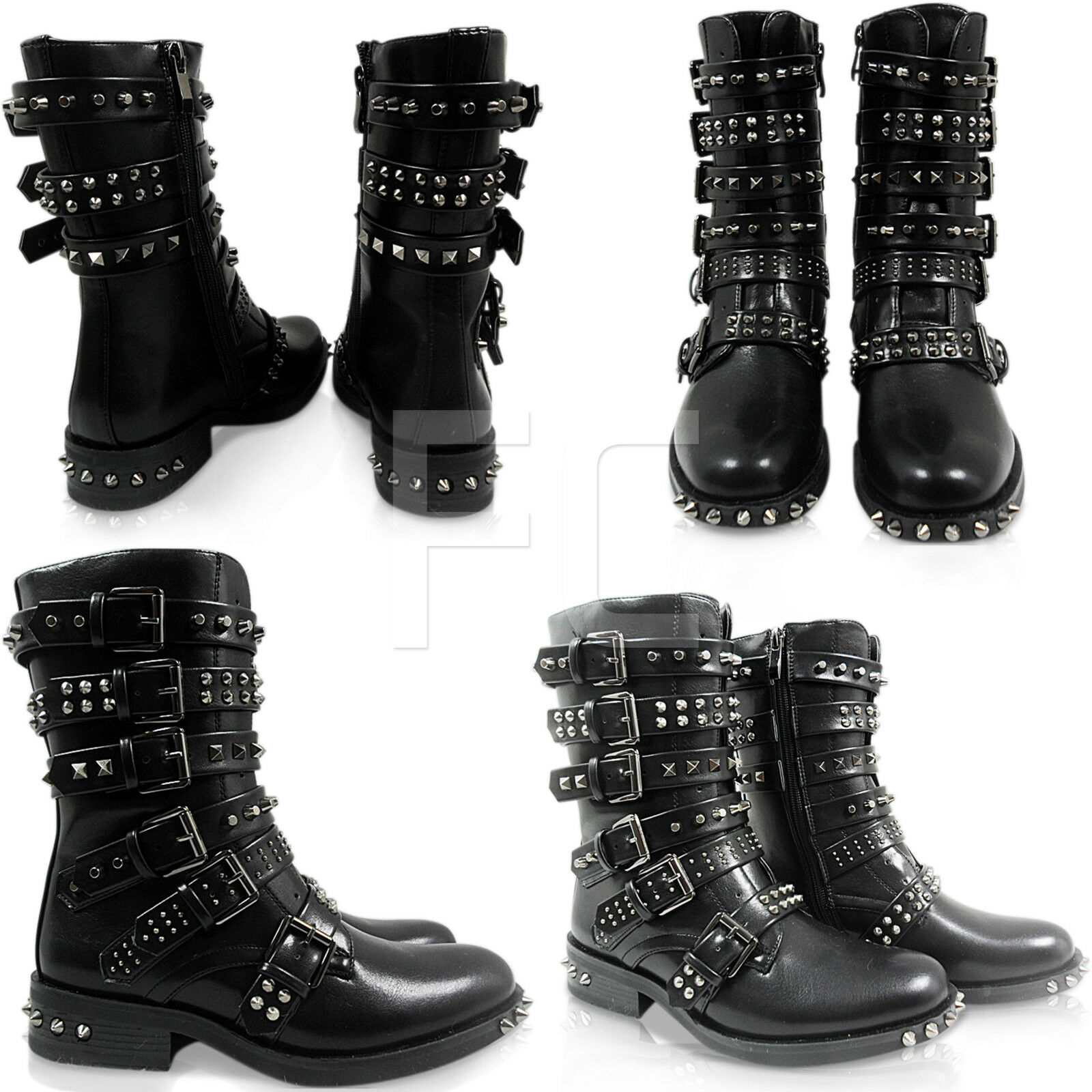 NEW WOMENS LOW HEEL BIKER COMBAT BUCKLE STRAPS SPIKES STUDS ANKLE BOOTS SIZE