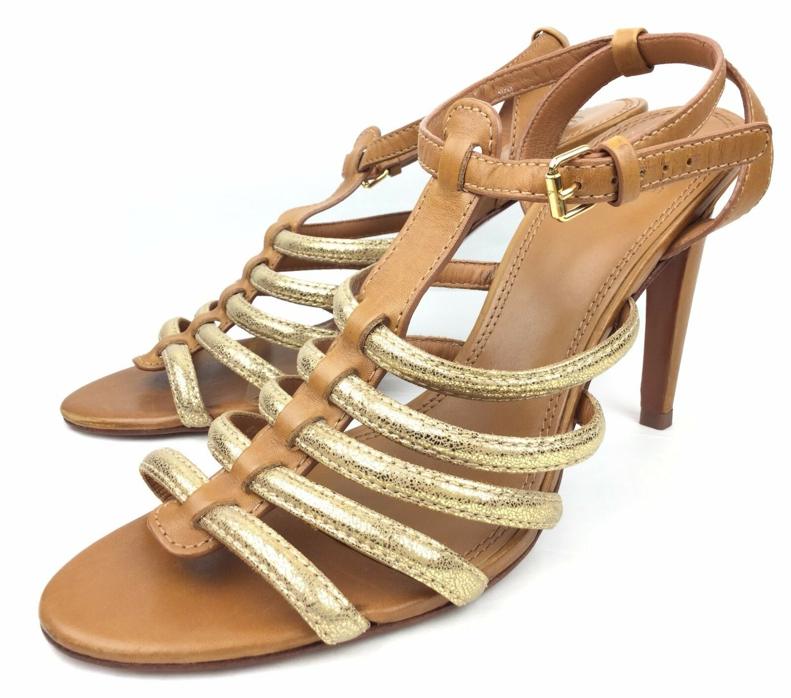 Tory Tory Tory Burch Charlene Tan gold Leather Gladiator Heels Sandals sz  US 10.5 7b0ba8