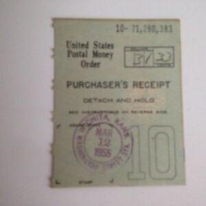 Vintage 1955 United States Postal Money Order Stub March 12 1955 Green Ebay