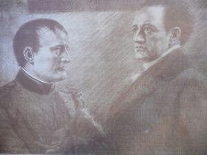Napoleon-und-Goethe-Lithografie-um-1905-Karl-Bauer-signiert-Best-Nr-2