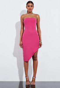 Missguided-Peace-and-Love-Pink-Bandeau-Asymmetric-Hem-Mini-Dress-Size-8