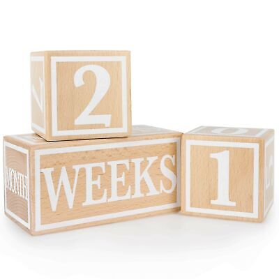 Baby Milestone Blocks Premium Solid Wood Age Block Set Baby Shower Gift Keepsake for Photo Sharing Pregnancy Baby Newborn Toddler Weekly Monthly Yearly Age Boys Girls Photo Props White and Black