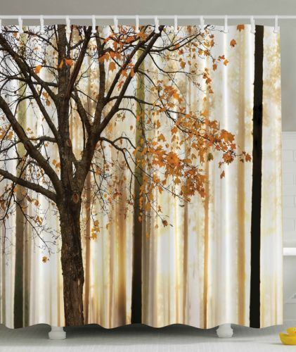 New Fall Trees Print Polyester Fabric Decorative  Shower Curtain