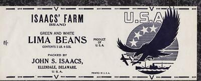 ISAACS FARM Lima Beans Can Label WWII War Effort Victory Label