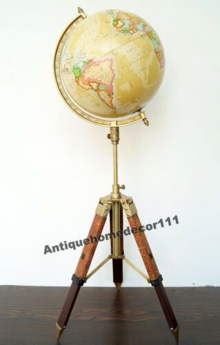 Collectibles Antique World Globe With Leather Tripod Stand Home Decor Gift Item