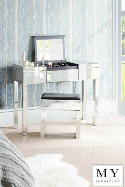 Mirrored Dressing Table / Console with Compartment & Drawer - APOLLO (ID:15036)