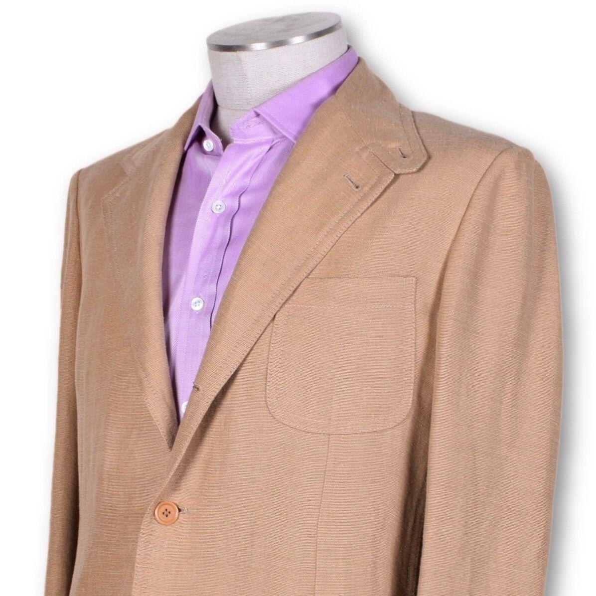 NWT Belvest braun Linen Silk 1 4 Lined Three Button Sportcoat STUNNING 40 40R