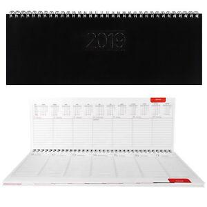 SIGMA-Tischkalender-2019-Querkalender-schwarz-Termin-Kalender-Zeitplansystem
