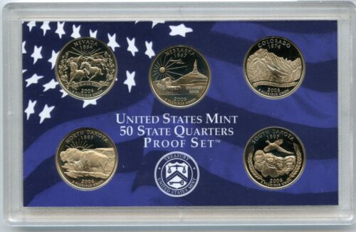 5 Coin 2006 State Quarters PROOF Set US United States Mint Box /& COA
