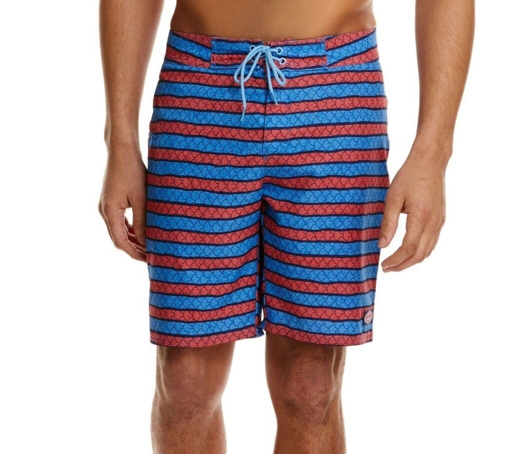 NWT VINEYARD VINES Sz42 ANGLER STRIPED BOARD SWIM SHORTS JETTY RED MULTI