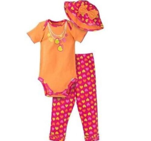 GERBER BABY GIRL 3-Piece Set Onesie Pants and Cap Baby Shower Gift Baby Clothes