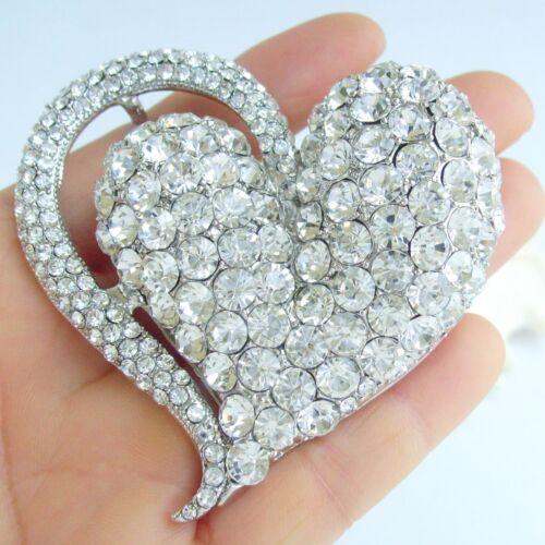 Robe de Mariage Clair Autrichien Cristal Amour Coeur Broche Broche Pendentif 04817C1