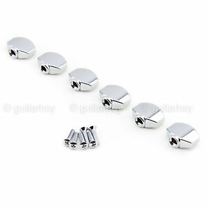 NEW (6) Buttons for Gotoh Tuners Mini Sealed Schaller Style - CHROME #07
