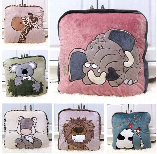 NICI WILD FRIENDS Animals Lion Elephant Koala 2in1 Cushion Throw Blankets Gifts