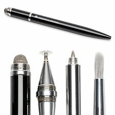 Stylus Pen 4-in-1 with Replaceable Brush, Capacitive Fiber Tip, Fine Point Disc