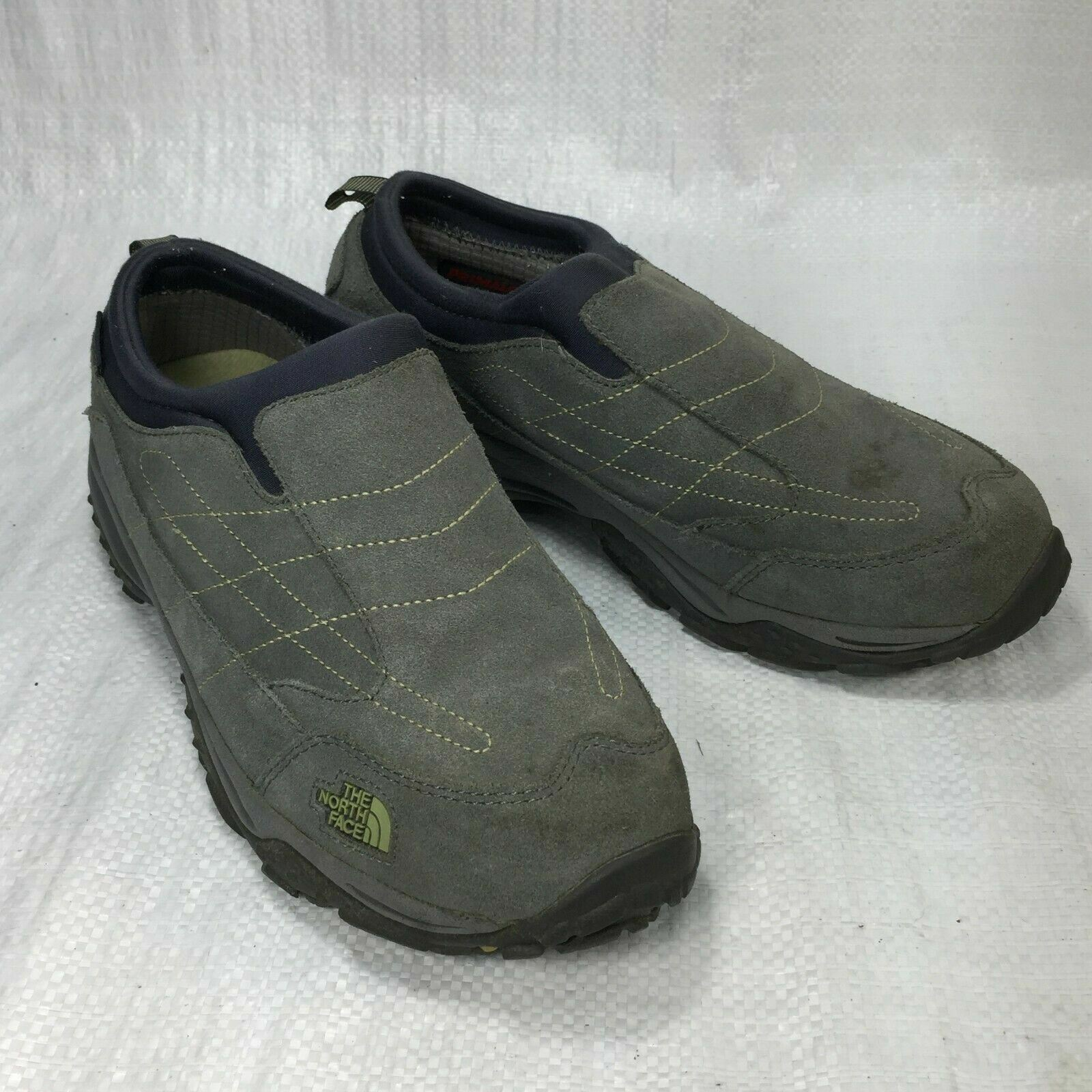 The North Face Primaloft 200G Grey Suede Slip On Womens Hiking Loafers Sz 9.5
