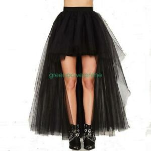 3a960248e4 Women Lady Black Asymmetric Front Short Back Long Tulle Tutu Skirt G ...