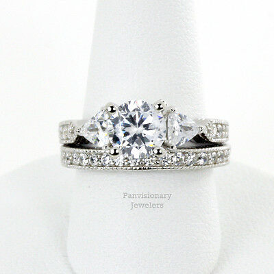 CZ Silver 2 Ring Set 6.5MM Three Stone Round & Trillion .925 Sterling Engagement