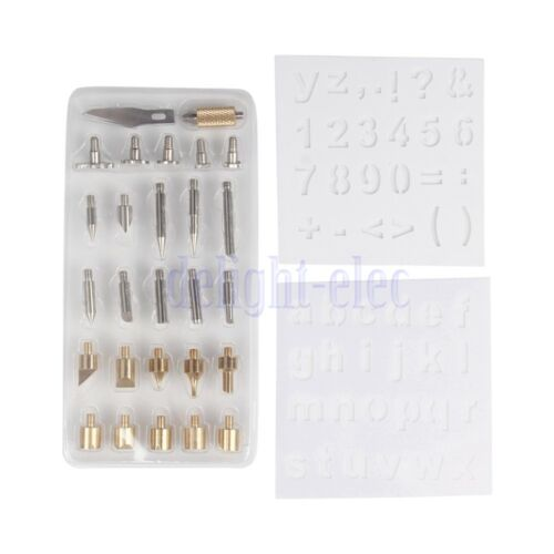 28Pc//set Wood Burning Soldering Pyrography Solder Tips w//2x Stencils Kit Tool DE