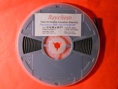"""3//16/"""" x 20 Feet RNF-100-3//16-BK-SP Raychem HEAT SHRINK TUBING BLACK Inch"""