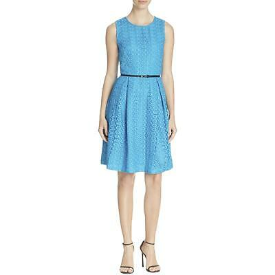 Calvin Klein 4663 Womens Blue Lace Overlay Floral Casual Dress 8 BHFO