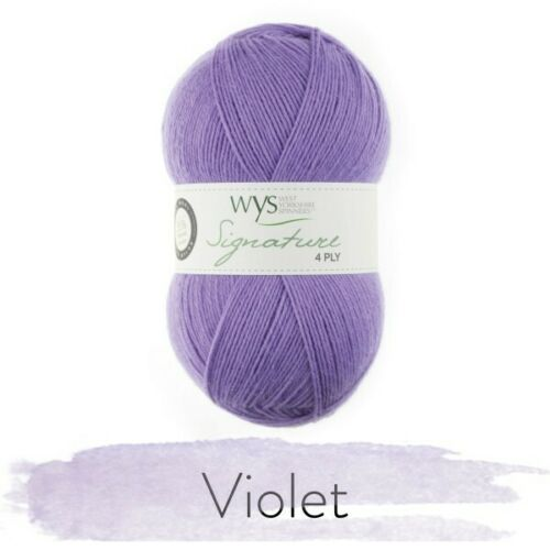 WYS SIGNATURE 4 PLY WOOL sock yarn  Violet 100g