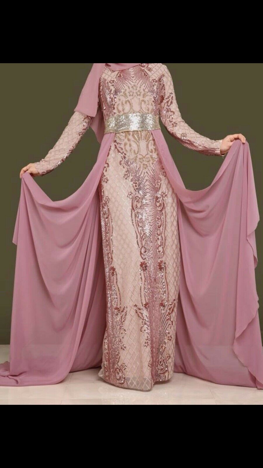 Evening Gold And Rosa Dress