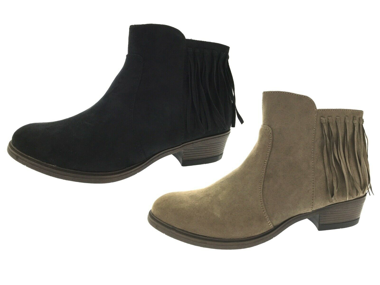 Womens Tassel Chelsea Ankle Boots Chunky Low Block Heel Faux Suede Shoes Size